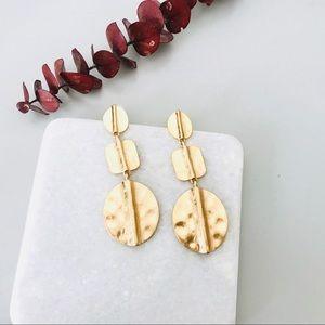 Minimal Hammered Gold Drop Earrings
